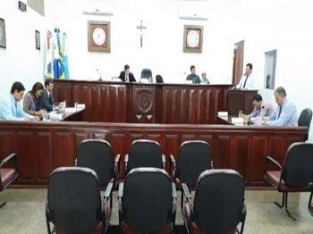 Os vereadores de Laguna Carapã na sessão desta terça-feira (27). Foto: Assessoria