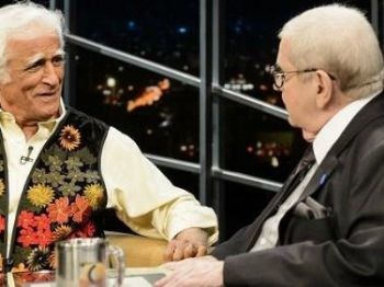 Ziraldo e Jô Soares na última entrevista do cartunista ao apresentador, em agosto de 2015