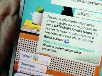 Corrente no WhatsApp promete amostra grátis da linha Nativa SPA (Foto: Tainah Tavares / TechTudo)