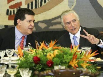 Os presidentes do Paraguai Horacio Cartes e do Brasil Michel Temer, em almoço oferecido durante a 51ª Cúpula de Chefes de Estado do Mercosul e Estados AssociadosMarcelo Camargo/Agência Brasil